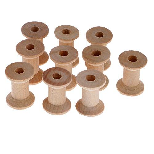 - MonkeyJack 10 Piece Wooden Empty Sewing Bobbins Spools Sewing Thread Ribbon Holder 28x21mm