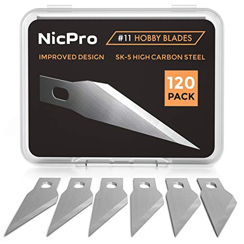 Nicpro 120 PCS Hobby Blades Set, Utility Excel Blades #11 Refill Exacto Art Blades Cutting Tool with Storage Case for Craft, Hobby, Scrapbooking, ()