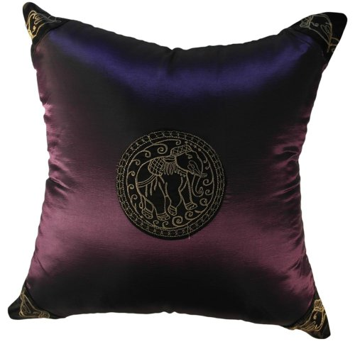 Royal Asian Elephant -18x18 Inches, Embroidered Royal Asian Elephant on Silk Decorative Pillow Cover. (Deep Purple) by Exotique Imports