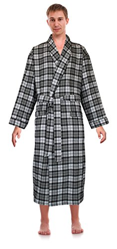 Classical Cotton - Robes King Classical Sleepwear Men's 100% Cotton Flannel Shawl Collar Robe, Size Small Medium Grey