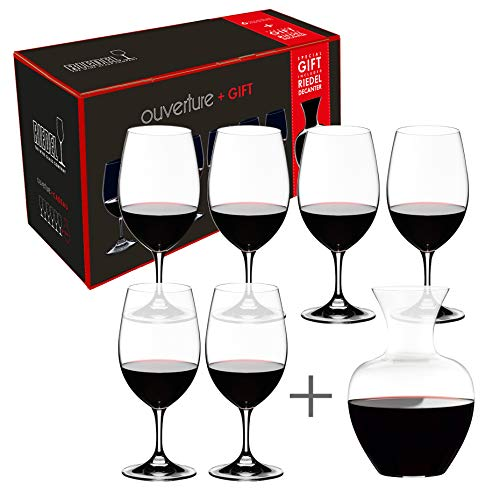 Riedel Ouverture Magnum Glasses + Apple Decanter, Clear, Set of 7 (Wine Decanter With Glasses)