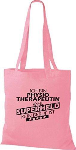 shirtstown Borsa di stoffa SONO physiotherapeutin, WEIL supereroe NESSUN lavoro è - rosa, 38 cm x 42 cm