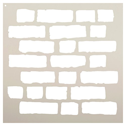 Rough Bricks Stencil by StudioR12 | Faux Finish Repeating Pattern Art - Reusable Mylar Template | Painting, Chalk, Mixed Media | Use for Crafting, DIY Home Decor - STCL703 CHOOSE SIZE (18