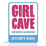 Girls Bedroom Sign - Decorative Aluminum Purple and Blue 'Girl Cave, No Boys Allowed (except Dad) Parking Street Sign. Cute & Funny tin wall Art for little girls room. Put the poster away!