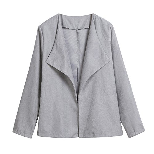 Cotton Blend Blazer (Doinshop Casual Blazer Women's Long Sleeve Slim Suit Business Jacket Coat Outwear (Gray, M))