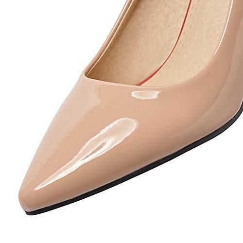 AllhqFashion Puro Tirare Ballet Flats Luccichio Tacco Medio FBUIDD005874 Albicocca Donna TTqxnr15t4