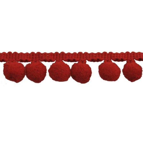 Pompom Fringe 1-Inch Polyester Fringe Rolls for Arts and Crafts, 10-Yard, red
