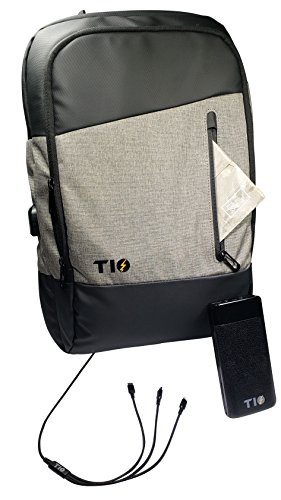 TIO: Charging Station Backpack - USB Power Bank 20000mah - Plus Type-C 3 in 1 Cable – Computer Travel Bag For Tablets MacBooks & Cell Phones - RFID Pouch by Tio