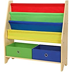 SONGMICS Children's Book Shelves with Toy Storage Bins, 4 Tier Fabric Bookcase, Includes Anti-toppling Straps, Wooden Board Frame UGKR24Y
