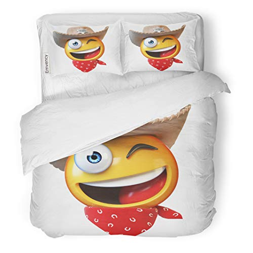 Semtomn Decor Duvet Cover Set Twin Size America Sheriff Emoji Cowboy Emoticon 3D Rendering American Badge 3 Piece Brushed Microfiber Fabric Print Bedding Set Cover]()