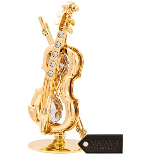 24K Gold Plated Crystal Studded Violin on a Stand Ornament by Matashi ()