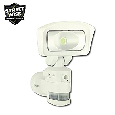 Streetwise NightWatcher Robotic LED Security Light: Movement Tracking Flood Light and HD Security Camera with WiFi in White
