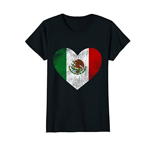 Womens Mexico Flag T Shirt Distressed Mexican Heart Love Tee Medium Black -