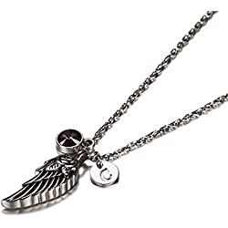 Wing of Angel Cremation Jewelry Initial Necklace Urn Memorial Ashes Holder Keepsake with Birthstone Crystal by AMIST February C
