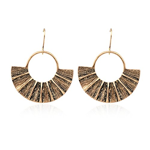 (Zealmer Gudukt Bohemian Ethnic Earrings Fan Shape Openwork Big Circle Dangle Drop Hook Earrings for Women)
