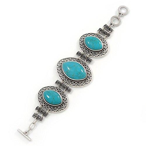 Avalaya Vintage Turquoise Stone, Oval Filigree Bracelet with Toggle Clasp -18cm Length