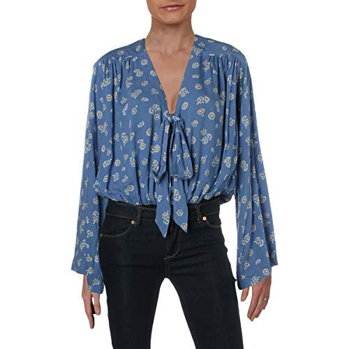 Intimately Free People Womens Forties Feels Floral Print Bodysuit Blue M from Free People Intimately