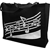 Cheap Gift House Reusable Tote Bag – Music Notes – Black (20 X 16)