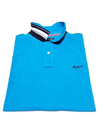 Polo In Corta 311 Collo Woolrich Turchese Cotone 100 Uomo Wopol0394 Piquet Contrasto Con Manica UdPxCgw