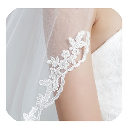 Wedding Bridal Veil with Comb 1 Tier Lace Applique Edge Fingertip Length 36'' Ivory by BEAUTELICATE
