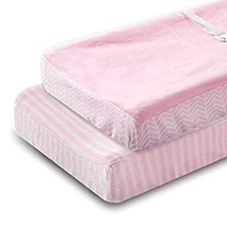 """Changing Table Pad Covers - Contoured Changing Pad Cover Pink for Boys or Girls - Ultra Soft & Stretchy Washable Plush Fleece - 16x32"""" Size Universal Fit - 2 Pack Pink Chevron and Stripes"""