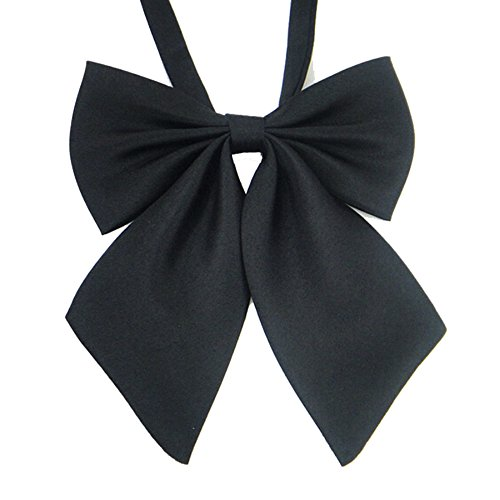 (AKOAK Adjustable Pre-tied Bow Tie Solid Color Bowties for Women ties,Black)