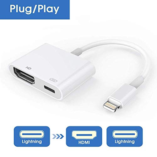 RayCue Lightning to HDMI, Lightning to HDMI Cable Adapter, 1080P Lightning Digital AV Adapter, Sync Screen HDMI Connector with Charging Port for iPhone & iPad-[Power Supply Needed] by RayCue