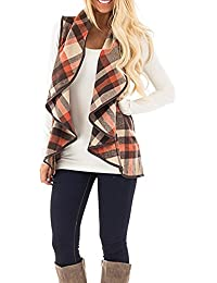Womens Big Lapel Lightweight Plaid Open Front Vest Cardigan Jacket With Pockets