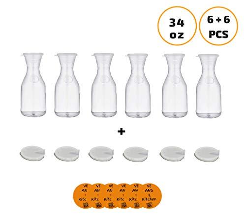 Cambro WW1000 CamView Camliter 34 oz. Tritan Plastic Beverage Decanter (6 pcs) + standart plastic lids (6 pcs) + Pour Spout Lids (6 pcs) - w/coasters