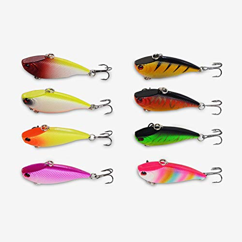 Discover Fish Fishing Lures Bass Minnow Crappie Trout Muskie Pike Set Mens Pro Topwater Swimbait Hard Plastic Baits VIB Lure Freshwater Saltwater Trolling 2.3inch 8Pcs/Lot