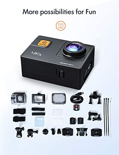 APEMAN 【New Model】 A87 Action Camera Touch Screen 4K 60FPS 20MP Wi-Fi Sports Cam 8X Zoom EIS 40M Waterproof Underwater Camcoder with 22 Accessories and Carring Case, for Yutube/Vlog Videos