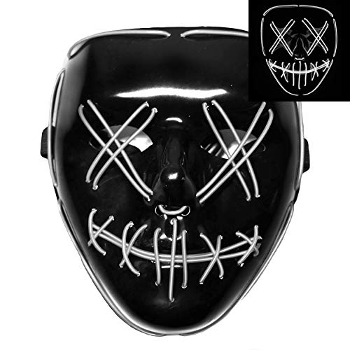 Light Up LED Smiling Stitched Purge Mask for Halloween, Rave, Festivals, and Cosplay - 8 Colors -