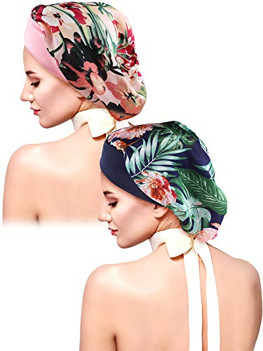 (2 Pieces Women Satin Sleep Elastic Cap Wide Band Cap Bonnet for Protecting Hair (Color Set 1))