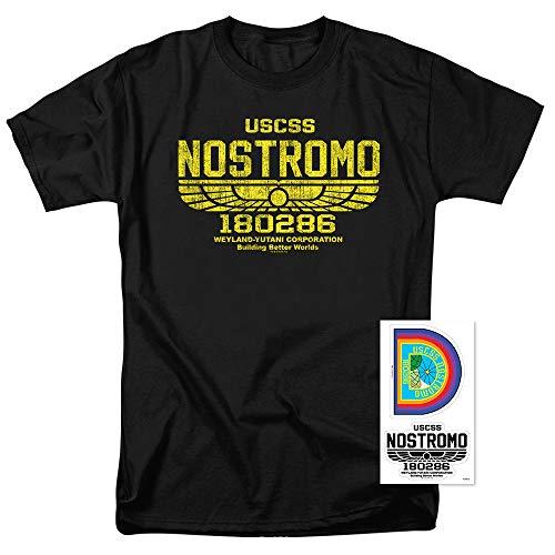 Alien USCSS Nostromo Vintage Logo Black T Shirt (X-Large) -