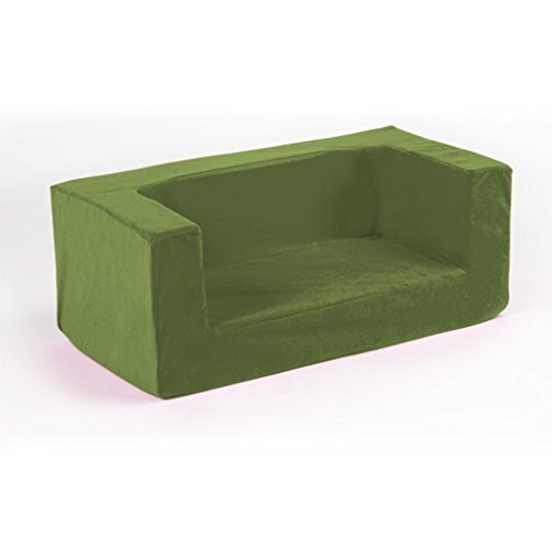Children's Comfy Foam 2 Seater Mini Sofa in Lime. Soft, Colourful, Comfortable & Lightweight with a Removeable Cover by Matching Bedroom Sets