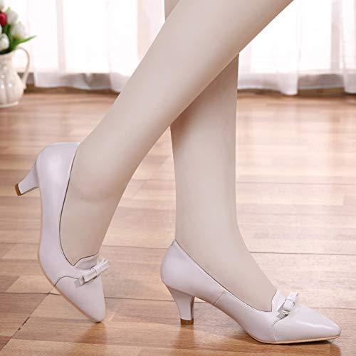 Baja Aguja Casuales Yukun Otoño Salvaje Individuales Zapatos De de tacón Femenina Otoño Zapatos Negro con White zapatos con Zapatos Boca Zapatos Punta alto Apricot De Mujer OOa8x