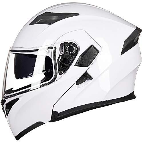 ILM Motorcycle Dual Visor Flip up Modular Full Face Helmet DOT with 6 Colors (M, WHITE)