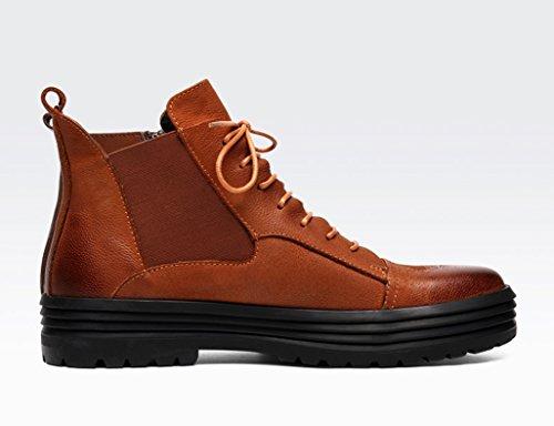 HWF Scarpe Uomo in Pelle Scarpe in pelle da uomo High-top invernali Martin Boots Tooling Short Boots British Style (Colore : Giallo terroso, dimensioni : EU42/UK7.5) Giallo Terroso