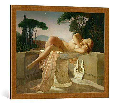 kunst für alle Framed Art Print: Hippolyte Paul Delaroche Jeune fille Dans une Vasque - Decorative Fine Art Poster, Picture with Frame, 27.6x21.7 inch / 70x55 cm, Copper Brushed