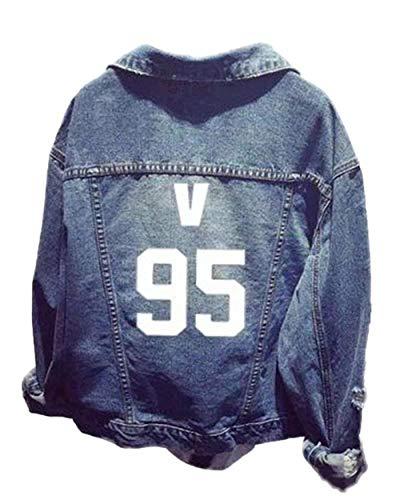 Outerwear Giaccone Casual Jeans Baseball Blue Moda Digitale Anteriori Bavero Elegante Manica 7 nbsp; Cute Unisex Stampato Giacche Lunga Donna Tasche Autunno Chic Cappotto Confortevole 1wHUUq