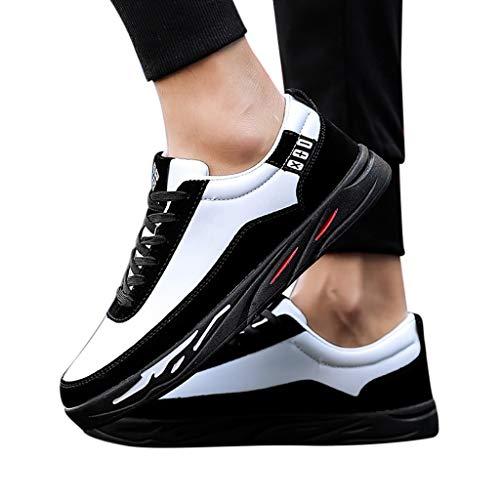 Todaies Sneakers Men Shoe Student Running Hiking Shoes Casual Shoe Lace-Up Low Shoes (42, Black)