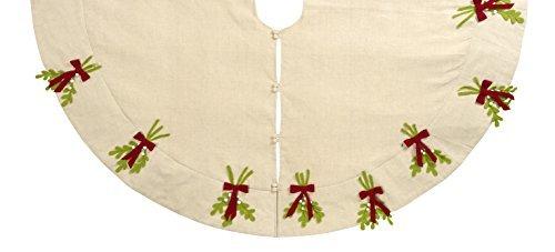 Arcadia Home TL1 Mistletoe Christmas Tree Skirt, Multicolored