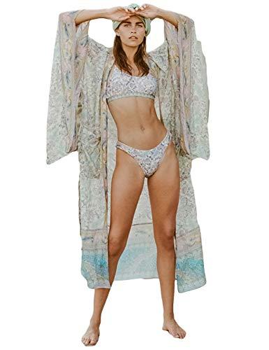 (Bsubseach Women Chiffon Print Bathing Suit Swimsuit Cover Up Swimwear Open Front Kimono Cardigan)