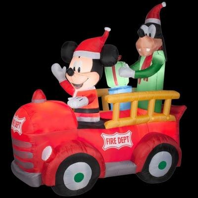 6' Tall Disney Christmas Mickey Mouse & Goofy Fire Dept Truck Airblown  Inflatable By Gemmy - Amazon.com: 6' Tall Disney Christmas Mickey Mouse & Goofy Fire Dept