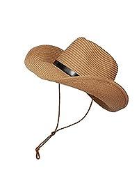 Tinksky Cowboy Sun Hat Wide Brim Hat Summer Beach Straw Cap Foldable Caps (Khaki)