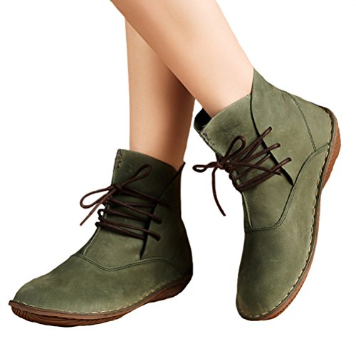 Style Boots Low Lace Ankle Mordenmiss 1 green Shoes Heel up Leather Women's wqxBpztT
