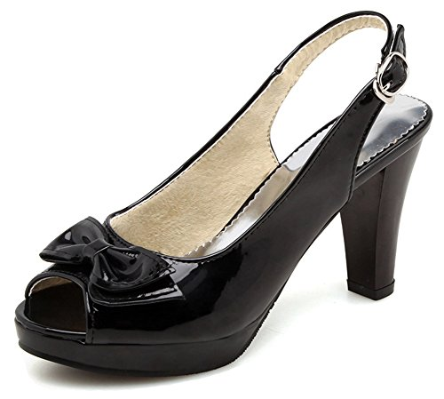 Aisun Women's Peep Toe Slingback Sandals with Bow - Buckled Platform High Heels - Chunky Wedding (Black, 7.5 B(M) US)