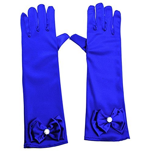 L-Peach Kids Satin Bowknot Formal Gloves Girls Princess Costume Gloves for Bride Party Halloween Cosplay ()