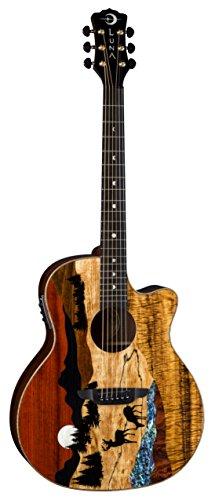 Luna Guitars 6 String Luna Vista Deer Tropical Wood Acoustic-Electric Guitar with Case (