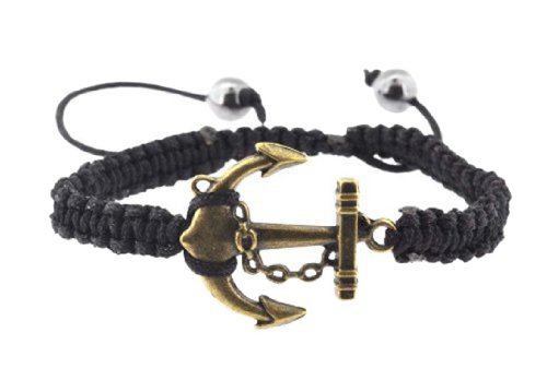 Braided Waxed Cord Macrame Woven Boat Nautical Navy Anchor Bracelet with Adjustable (Boat Bracelet)